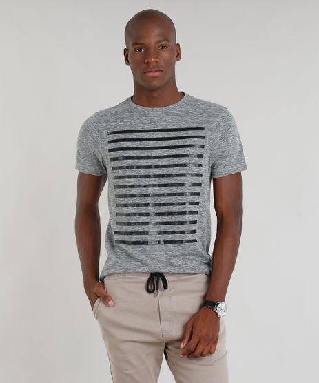 Camiseta-Masculina-Slim-Fit-com-Listras-Manga-Curta-Gola-Careca-Cinza-Mescla-9138784-Cinza_Mescla_1