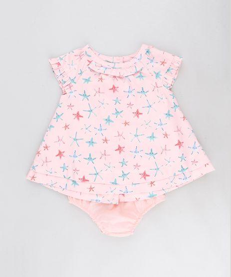 Vestido-Infantil-Estampado-de-Estrelas-do-Mar-com-Babado-Manga-Curta---Calcinha-Rosa-9116665-Rosa_1