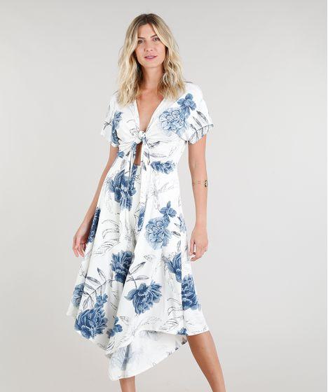d34e37991 Macacão Pantacourt Feminino Assimétrico Estampado Floral Off White - cea