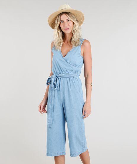 Macacao-Jeans-Pantacourt-Feminino-com-Decote-Transpassado-Azul-Claro-9337578-Azul_Claro_1