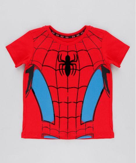f8a377fd0 Camiseta Infantil Homem Aranha Manga Curta Gola Careca Vermelha - cea