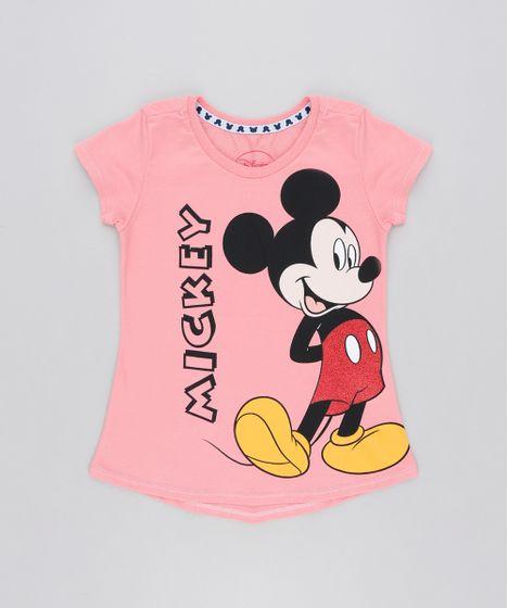 7b2ac5a35 Blusa Infantil Mickey com Glitter Manga Curta Decote Redondo Rosa - cea
