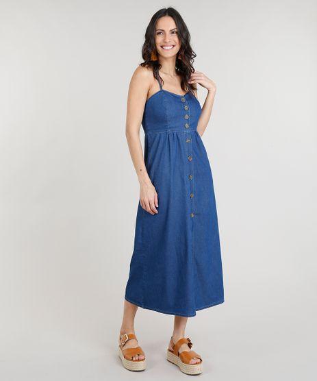 Vestido-Jeans-Feminino-Midi-de-Botoes-Alcas-Finas-Azul-Medio-9337583-Azul_Medio_1