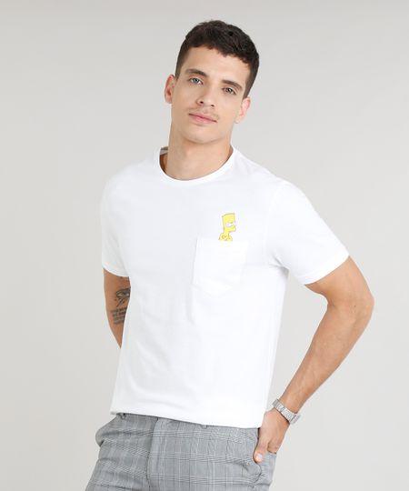 795c073db Camiseta Masculina Bart Simpson com Bolso Manga Curta Gola Careca Off White  - ceacollections