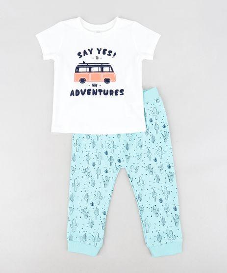 Conjunto-Infantil-de-Camiseta---Calca-em-Moletom-Estampada-de-Cactos-Verde-Agua-9123457-Verde_Agua_1