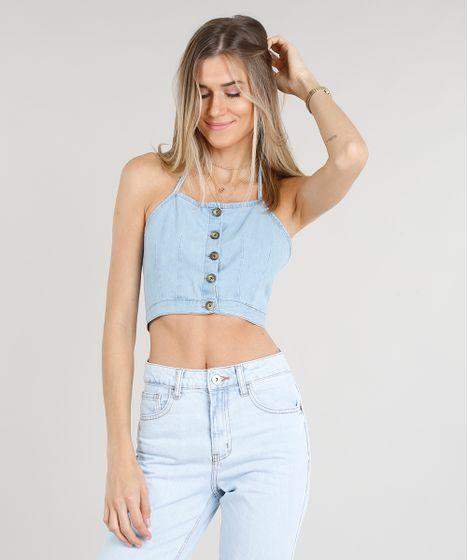 eecb8fa73665 Top Cropped Jeans Feminino Frente Única com Botões Azul Claro - cea