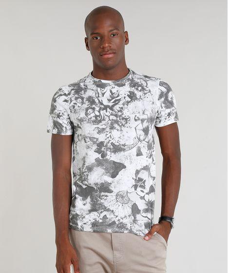 511d56bfa6f1df Camiseta Masculina Slim Fit Estampada Floral Manga Curta Gola Careca ...