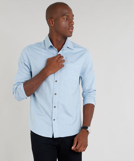 0f695cd425 Camisa-Masculina-Slim-com-Bolso-Manga-Longa-Azul-
