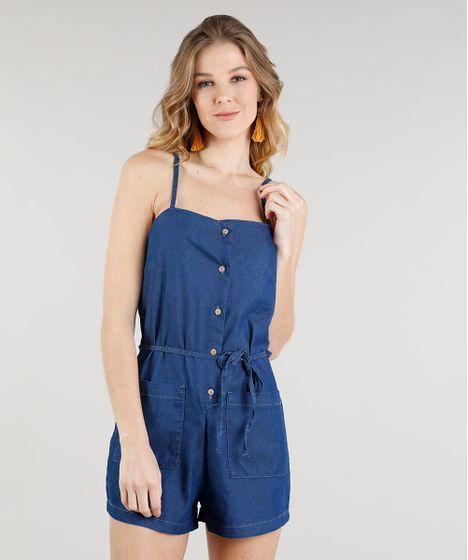0e2e61c9a Macaquinho Jeans Feminino com Bolsos Alças Finas Azul Médio - cea