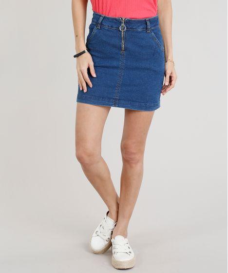 2239d3f6b Saia Jeans Feminina Evasê com Barra Desfeita Azul Marinho - cea