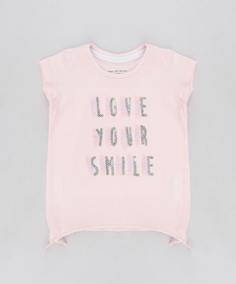 Blusa-Infantil--Love-Your-Smile--com-Paete-Manga-Curta-Decote-Redondo-Rose-9333400-Rose_1