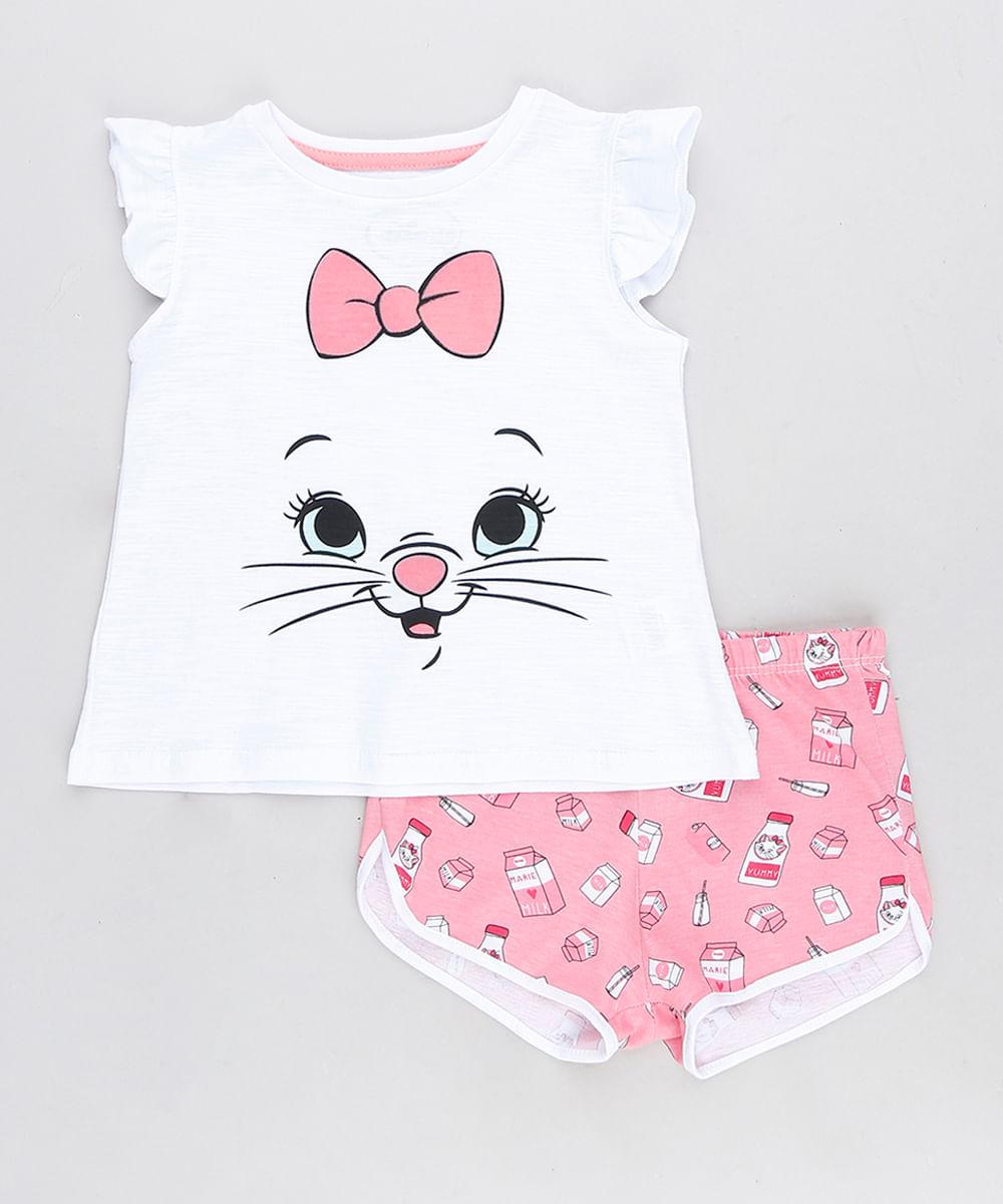 fce485d27473 Pijama Infantil Marie Estampado com Babado Regata Branco - cea