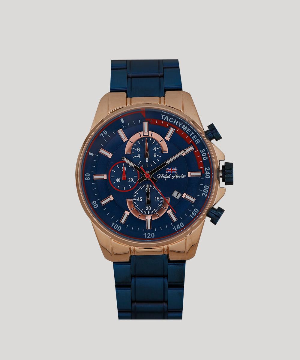 e2455c53459 Relógio Cronógrafo Philiph London Masculino - PL80042613M Azul - Único