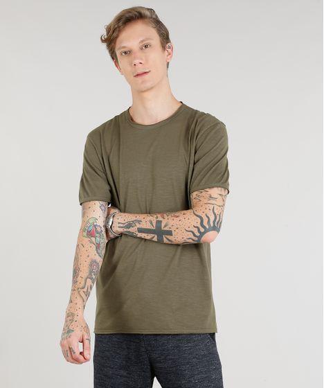 5e72316bf Camiseta Masculina Manga Curta Gola Careca Verde Militar - cea