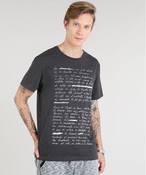 35354a8170 Camiseta Masculina Texto Manga Curta Gola Careca Cinza Mescla Escuro ...