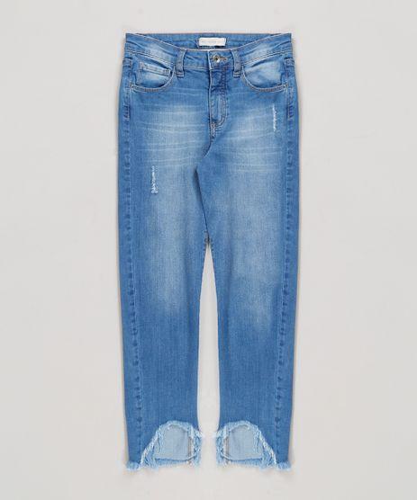 Calca-Jeans-Infantil-com-Puidos-e-Barra-Desfiada-Azul-Medio-9169054-Azul_Medio_1