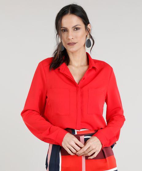 Camisa-Feminina-com-Bolsos-Manga-Longa-Vermelha-9278015-Vermelho_1