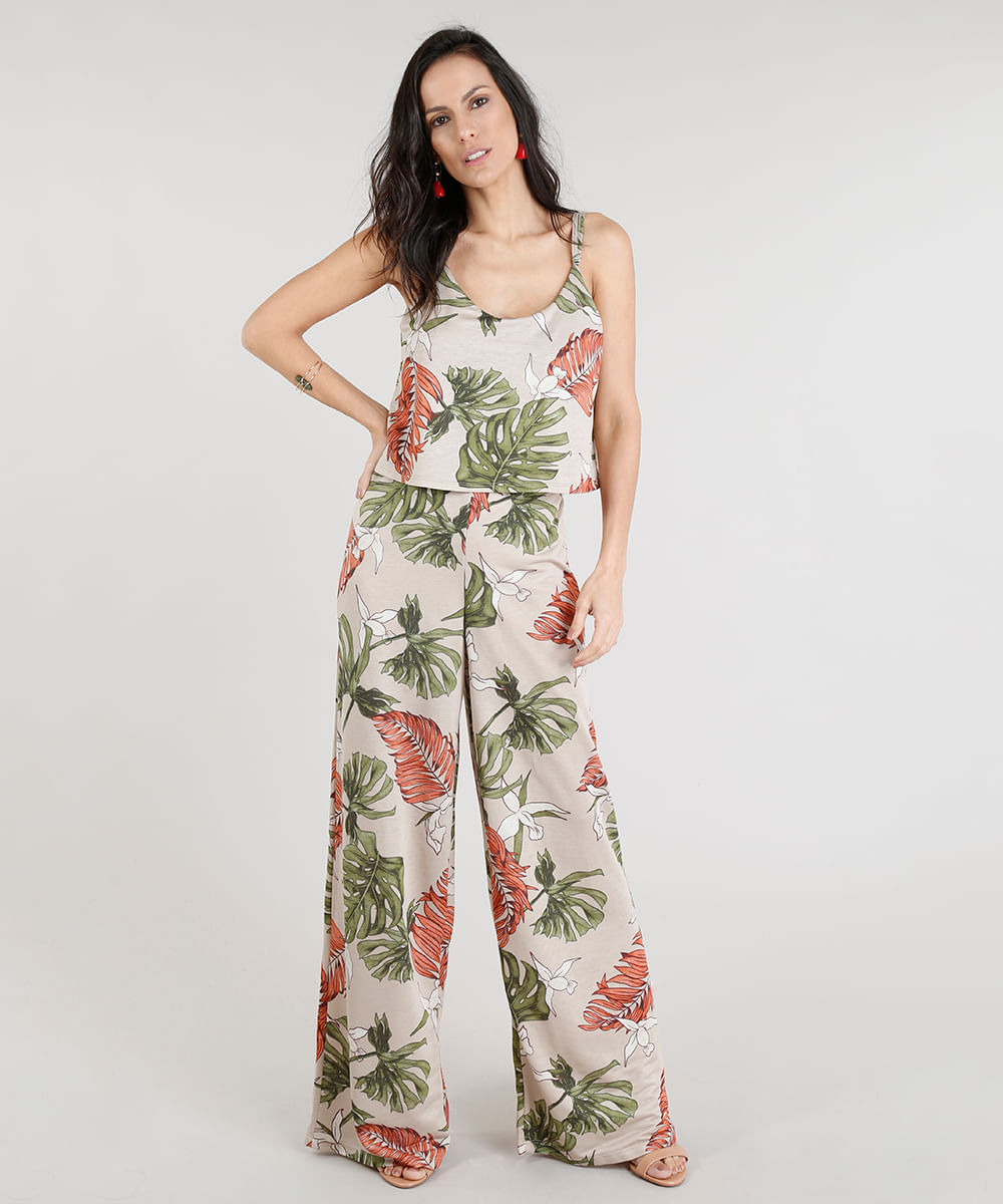 d7ff9ac8c ... Macacao-Longo-Feminino-Estampado-Floral-Kaki-9305370-Kaki 1