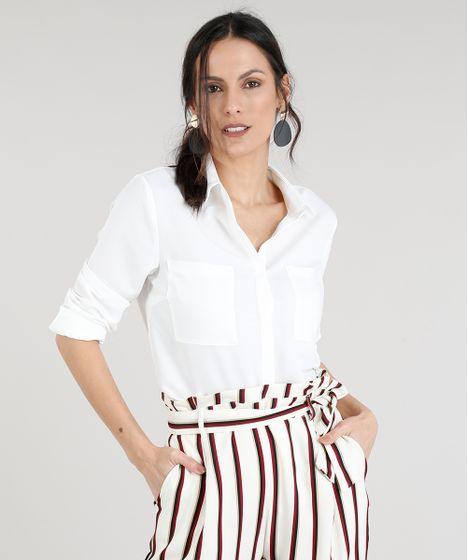 Camisa Feminina com Bolsos Manga Longa Off White - cea 6b872fea9a5ff