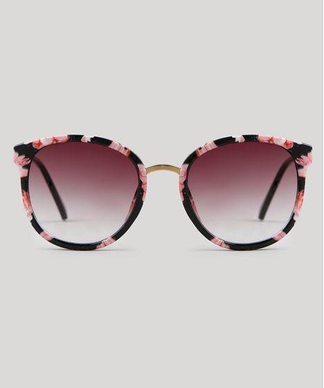 Óculos de Sol Redondo Feminino Oneself Preto - cea 7f6fd169cc