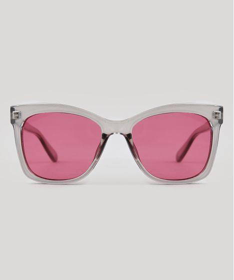 a06a3a721 Óculos de Sol Quadrado Feminino Oneself Cinza Claro - cea