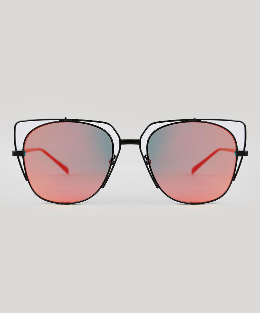 62f6c4ea5a82d Óculos de Sol Quadrado Feminino Oneself Preto - ceacollections