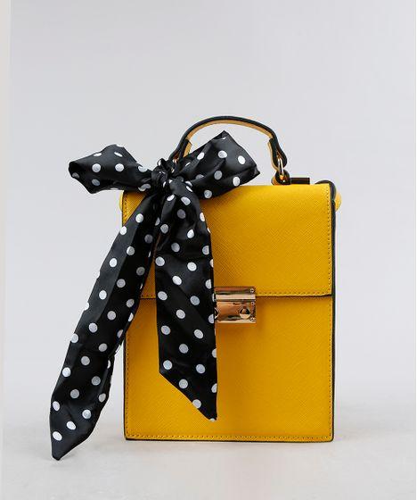 faaf87d29 Bolsa Transversal Feminina com Lenço Estampado de Poá Amarela - cea