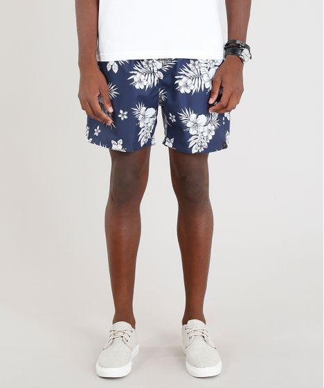 Short-Masculino-Estampado-Floral-Azul-Marinho-9317800-Azul Marinho 1 ... 3c7f9ce3f8eb9