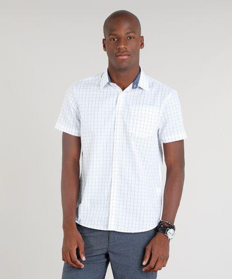 Camisa-Masculina-Comfort-Xadrez-com-Bolso-Manga-Curta-Branca-9100385-Branco_1
