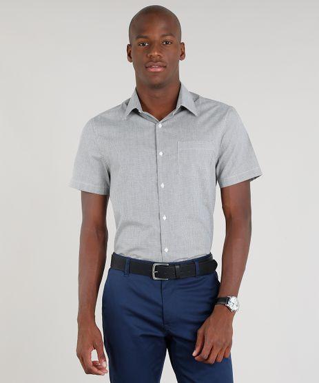 Camisa-Masculina-Comfort-Xadrez-com-Bolso-Manga-Curta-Preta-9093246-Preto_1