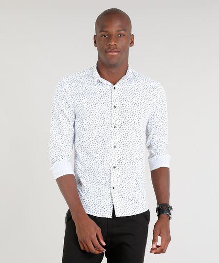 802562577 Camisa Masculina Slim Estampada Floral Manga Longa Branca - cea