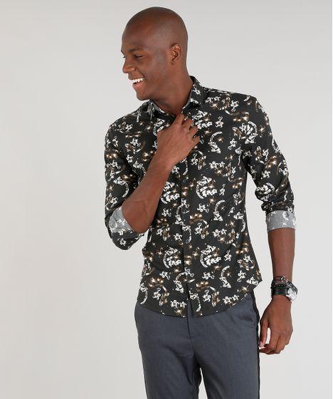 dfd3ea93de Camisa Masculina Slim Estampada Floral Manga Longa Marrom - cea
