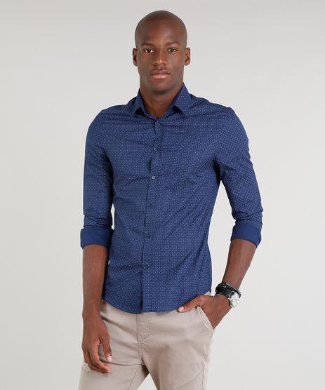 Camisa-Masculina-Slim-Estampada-Manga-Longa-Azul-Marinho-9089562-Azul_Marinho_1