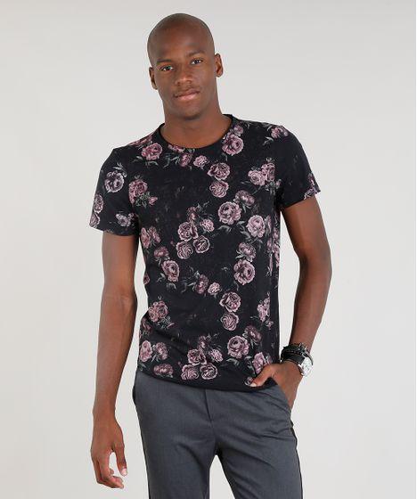 5bb6be6fde Camiseta Masculina Estampada Floral Manga Curta Gola Careca Preta - cea