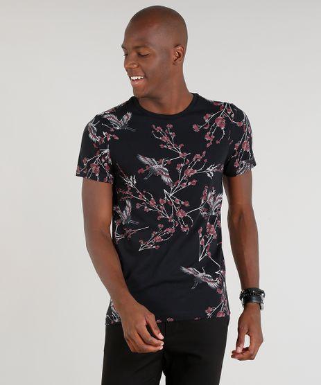Camiseta-Masculina-Estampada-Floral-Manga-Curta-Gola-Careca-Preta-9286515-Preto_1