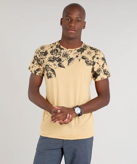8a1013531f Camiseta Masculina com Estampa Floral Manga Curta Gola Careca Mostarda