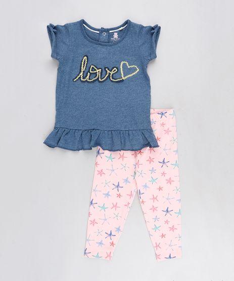Conjunto-Infantil-de-Blusa--Love--Manga-Curta-Azul-Marinho---Calca-Legging-Estampada-de-Estrela-do-Mar-Rosa-9125740-Rosa_1