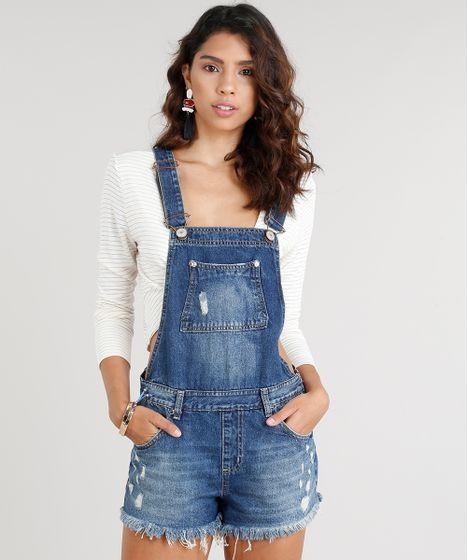 dad009fa5 Jardineira-Jeans-Feminina-com-Puidos-Azul-Escuro-9337569- ...