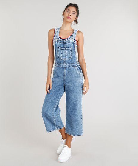 Macacao-Jeans-Feminino-Pantacourt-com-Bolsos-Azul-Claro-9337574-Azul_Claro_1