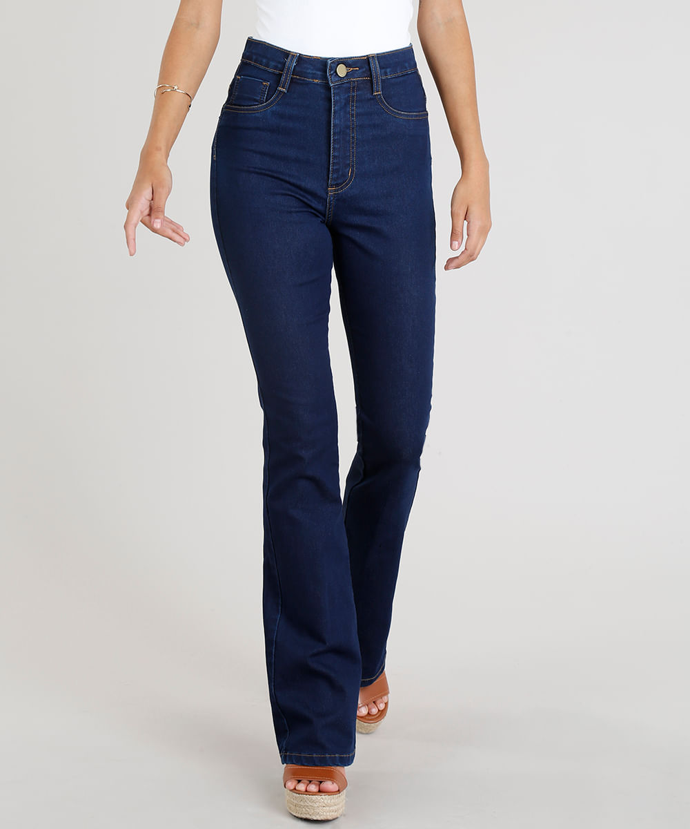cdb58c360 Calça Jeans Feminina Sawary Flare Lipo Azul Escuro - ceacollections