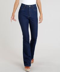 79ced95f7 Calça Jeans Feminina Sawary Flare Lipo Azul Escuro - ceacollections