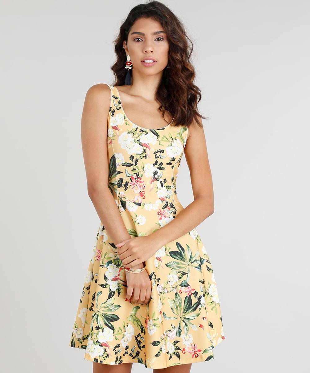 Vestido Feminino Curto Estampado Floral Amarelo - ceacollections 6f68f727806b5