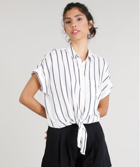 428b49956 Camisa Feminina Listrada com Nó e Bolso Manga Curta Branco - cea