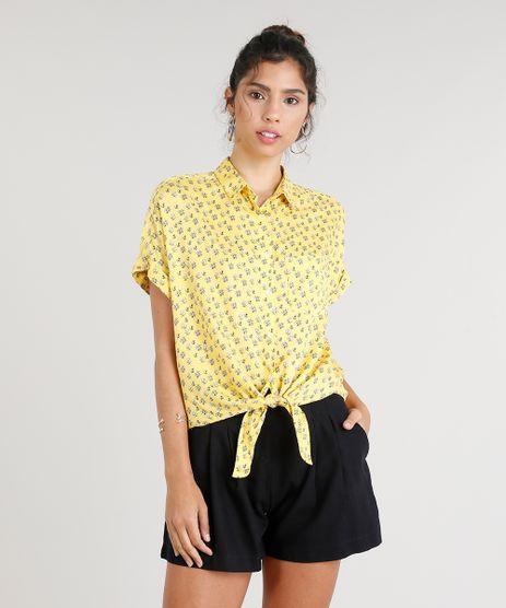 Camisa-Feminina-Estampada-Floral-com-No-e-Bolso-Manga-Curta-Amarela-9251929-Amarelo_1