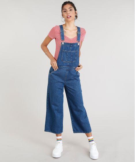 306f43c5f Macacão Jeans Feminino Pantacourt com Bolsos Azul Escuro - cea