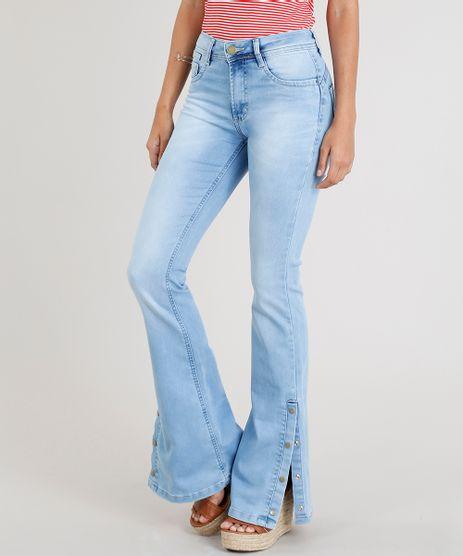 Calca-Jeans-Feminina-Sawary-Flare-com-Fenda-e-Botoes-Azul-Claro-9368331-Azul_Claro_1