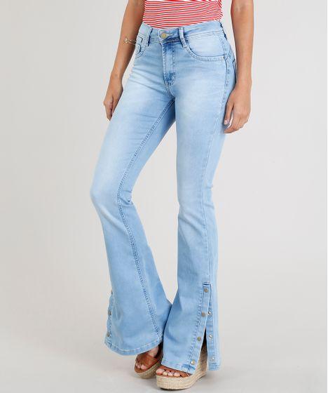 9bb958e2a Calça Jeans Feminina Sawary Flare com Fenda e Botões Azul Claro - cea