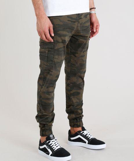 Calca-Masculina-Jogger-Cargo-Estampada-Camuflada-Verde-Militar-9107981-Verde_Militar_1