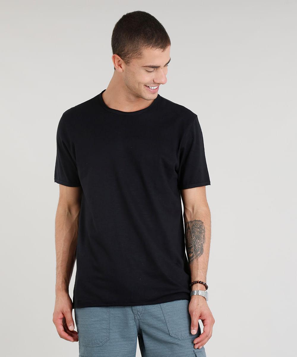 bfedb45382 ... Camiseta-Masculina-Manga-Curta-Gola-Careca-Preta-9325858-