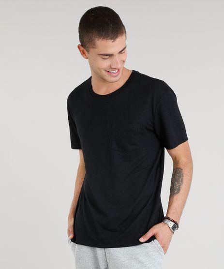 Camiseta-Masculina-com-Bolso-Manga-Curta-Gola-Careca-Preta-9248987-Preto_1